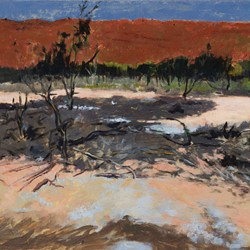 Kevin Robertson, Ash Field and Crater Wall, Wolfe Creek, 2016, acrylic and oil on canvas, 121 x 302cm