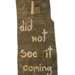 Olga Cironis, I Did Not See it Coming, 2016, military blanket and tent canvas, 106 x 47cm