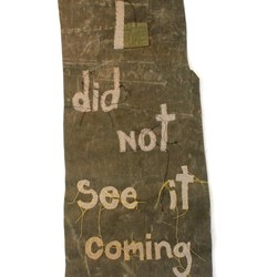 Olga Cironis, I Did Not See it Coming, 2016, military tent canvas, military blanket and thread, 106 x 47cm
