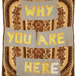 Olga Cironis, Why You Are Here, 2018, woollen blanket, red thread and recycled domestic cloth