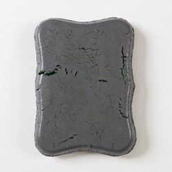 Andre Lipscombe, Grey Ingot, 2018, acrylic paint on timber, 24 x 18 x 3.5cm