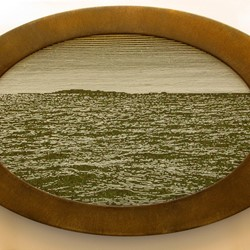 Tony Windberg, Home Turf 3, 2018, ink under glass, synthetic turf, gypsum and iron oxide on wood, 36 x 57 x 3cm.jpg