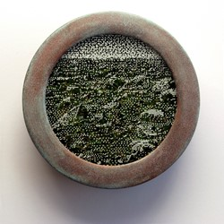 Tony Windberg, Sojourner, 2018, ink under glass, synthetic turf, copper plate on wood, 14 x 14 x 4cm.jpg