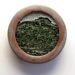 Tony Windberg, Curiosity, 2018, ink under glass, synthetic turf, copper paint on wood, 14 x 14 x 4cm.jpg