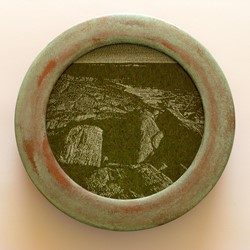 Tony Windberg, Investigator 3, 2018, ink under glass, synthetic turf, copper paint on wood, 28 x 28 x 6cm.jpg
