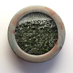 Tony Windberg, Opportunity, 2018, ink under glass, synthetic turf, copper paint on wood, 14 x 14 x 4cm.jpg