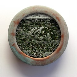 Tony Windberg, Viking 1, 2018, ink under glass, synthetic turf, copper paint on wood, 14 x 14 x 4cm.jpg