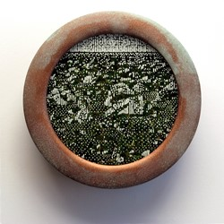 Tony Windberg, Viking 2, 2018, ink under glass, synthetic turf, copper paint on wood, 14 x 14 x 4cm.jpg