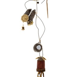 Susan Flavell, Witches Ladder with Golf Ball, papier mache, gifted wooden object, fencing wire from Beelier wetlands, ceramics, gifted earrings, found golf ball, found beads, glue, wire. 57 x 17 x 8cm.jpg
