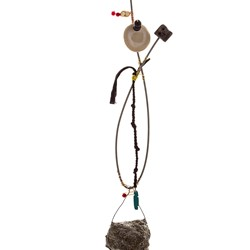 Susan Flavell, Witches Ladder with Skull, gifted stone from the Kimberley, papier mache, fencing wire from Beeliar wetlands, ceramics, found cloth, found beads, wood carving, glue, wire, 50 x 10 x 8cm.jpg
