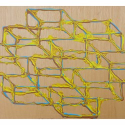 Alex Spremberg, Liquid Geometries 7, enamel on plywood, 39 x 61 x 3cm