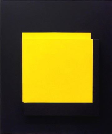 Helen Smith, Yellow and Black Assemblage, 2018, oil on canvas and linen, 90 x 60 x 6cm