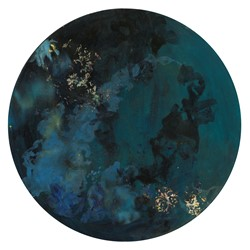 Angela Stewart, Sapience 8, 2017, acrylic and oil on board, 75cm diameter