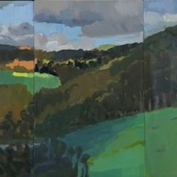 Jane Martin, Lowden Triptych, 2017, oil on board, 32 x 20cm each (3 panels)