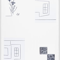 John Nixon, Flower, Window, Window II, Two Black Squares-Two Whole Squares, coloured pencil on paper, 75 x 56cm