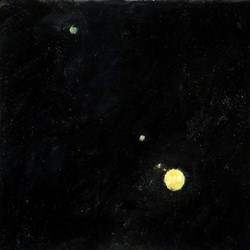 Kevin Robertson, Jupiter and Moons, 2018, oil on canvas, 30.5 x 30.5cm