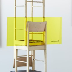 Jurek Wybraniec, Yellow 9, 2017, form ply wooden chair, routed acrylic, polymer paint filled text, urethane paint, table cloth, 220 x 104 x 55cm