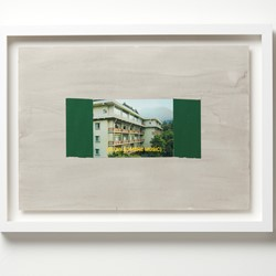 Jurek Wybraniec, Establishing Shot #7, 2017, laser etched, paint filled text on acrylic, postcard, cloth tape, ink on 300gsm water colour paper, 38 x 50cm