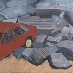 Tim Burns, Cars after the Fires (Pit 8), acrylic on canvas, 61 x 152.5cm