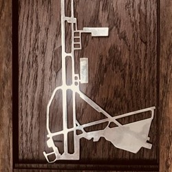 Jon Tarry, Tripoli Runway, solid sterling silver, American Oak and oil paint, 40 x 18cm