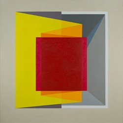 Caspar Fairhall, Folded Cube, 2017, oil on Belgian linen, 137 x 137cm