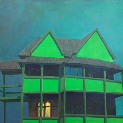 George Haynes, Midnight Moonshine (Green House), 1999, oil on canvas, 102 x 122cm