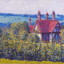 George Haynes, Cottage in Surrey, 1993, oil on board, 50 x 60cm