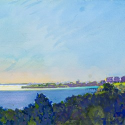 George Haynes, Fremantle from the South, 2018, gouache on paper, 23 x 31cm