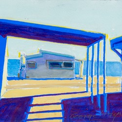 George Haynes, Shacks IIII, 2018, gouache on paper, 23 x 31cm