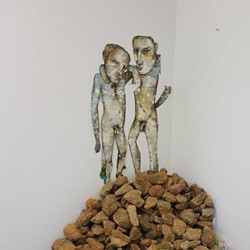 Antony Muia, Two Men Stockpile, 2013, ink and watercolour on paper and rocks, 210 x 210 x 120cm