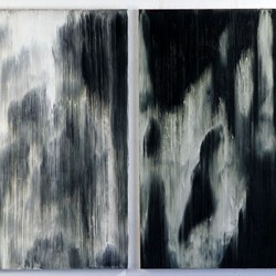 Paul Uhlmann, Islands of sleep III, oil on canvas, diptych, 107 x 66 and 107 x 61cm