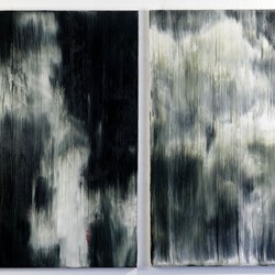 Paul Uhlmann, Islands of sleep II, oil on canvas, diptych, 107 x 66 and 107 x 61cm. Art Gallery of Western Australia