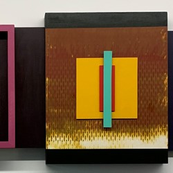 Bevan Honey and Paul Moncrieff, BHPM751, spray paint, acrylic on assembled timber and plywood panels, 40 x 50cm