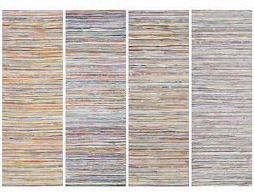 Eveline Kotai, Middle Ground - In the Line 2014, acrylic, nylon thread on linen, 50 x 200cm (4 panels)