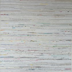 Eveline Kotai, Trace Elements 5, 2011, oil, acrylic, nylon thread on canvas, 120 x 120cm