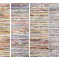Eveline Kotai, Middle Ground - In the Line, 2014, acrylic, nylon thread on canvas, 200 x 215cm