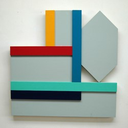 Paul Moncrieff, Pan-Arch Grey 3, 2016, acrylic on ply assembled panels, 60 x 90cm