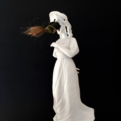 Olga Cironis, Pinki, 2016, porcelain, military fabric and hair, 30 x 10 x 10cm