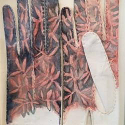 Valerie Tring, Sonnet: camellia leaves in the Autumn leaves, 2016, watercolour on found kidskin gloves 28 x 22cm