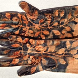 Valerie Tring, Sonnet: beech forests for the father, 2011, watercolour on found kidskin gloves, 47 x 40cm