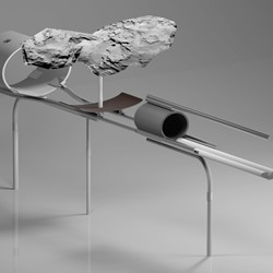 Jon Tarry, Drawing Rosseta, 2015, stainless steel paper, bronze, speakers, 280 x 100 x 30cm