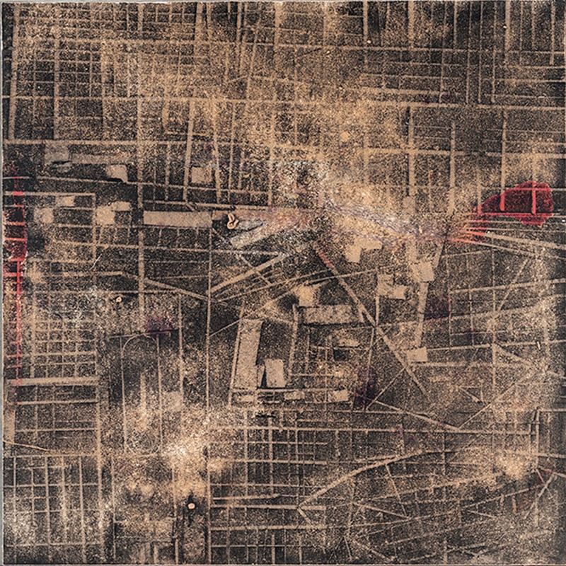 Merrick Belyea, The Bombing of Berlin, 2015, oil on board, 120 x 120cm