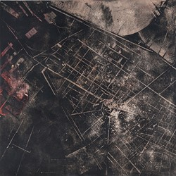 Merrick Belyea, The Bombing of Galatz, 2015, oil on board, 120 x 120cm