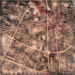 Merrick Belyea, The Bombing of Manila, 2014, oil on board, 120 x 120cm