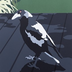 Joanna Lamb, Magpie, 2019, acrylic on board, 40.5 x 30.5cm
