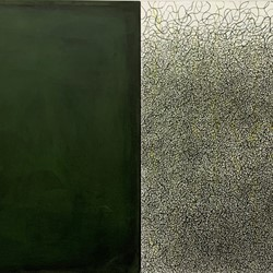 Michele Theunissen, empty, 2019, size, egg tempera, pigment, artists inks on canvas, 102 x 204cm, diptych