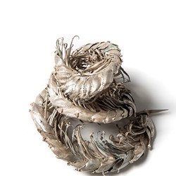 Sarah Elson, Fasciation (Banana Flower) 2017-2019, recycled silver, 27 x 16 x 5cm