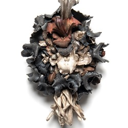 Sarah Elson, Fasciation (Cymbidium and Paw Paw Flowers), 2019, recycled silver and copper, 15 x 23 x 8cm. St John of God Health Care Collection