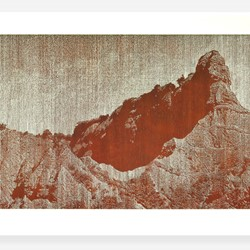 Tony Windberg, Counterpoint - Gallipoli, 2018, ink under glass, earth, ash, marri resin, acrylic binders, 54 x 130cm