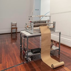 Olga Cironis, Mountain of Words, 2013, human hair weaving on metal loom, 9 speakers, amp, sound performance